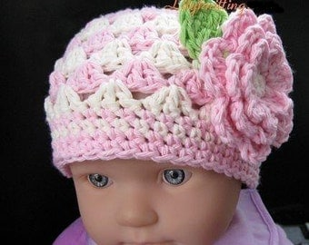 PATTERN in PDF crocheted baby Flower flapper beanie (Flapper Beanie 19) -- 0 - 3 months and 3 - 6 months