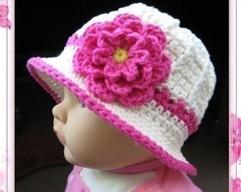 PATTERN in PDF -- crocheted baby cloche beanie summer hat with a large rose flower -- 0 - 3 months and 3 - 6 months