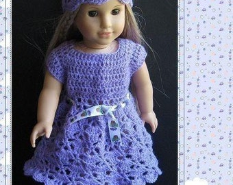 PATTERN in PDF crocheted doll dress for American girl, Gotz, My twin or similar 18 inches dolls (Doll Dress 4)