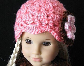 PATTERN in PDF -- Crocheted Doll Beanie Hat for American girl, gotz, my twin or similar 18 inches dolls (Doll Hat 24)