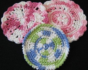 PATTERN  in PDF -- Crochet circle dishcloth flat dish cloth, coaster, potholder -- Dishcloth 42