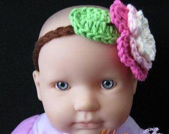 PATTERN in PDF -- Braid headband with crocheted flower in All sizes from a newborn  to adult (Headband 17) -- flower headband