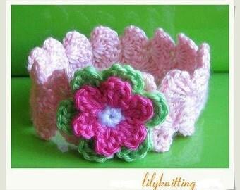 PATTERN in PDF Crocheted flower baby headband -- Headband 12