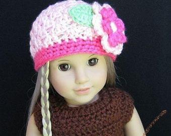 Pattern in PDF -- crocheted doll daisy flapper beanie hat for American Girl, Gotz or similar 18 inches dolls (Doll Hat 14)