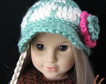 PATTERN in PDF Crocheted beanie for American Girl, my twin, Gotz or similar 18 inches dolls ( Doll Hat 25)