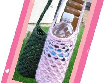 PATTERN in PDF -- Crocheted water bottle carrier/cozy/holder with shoulder strap