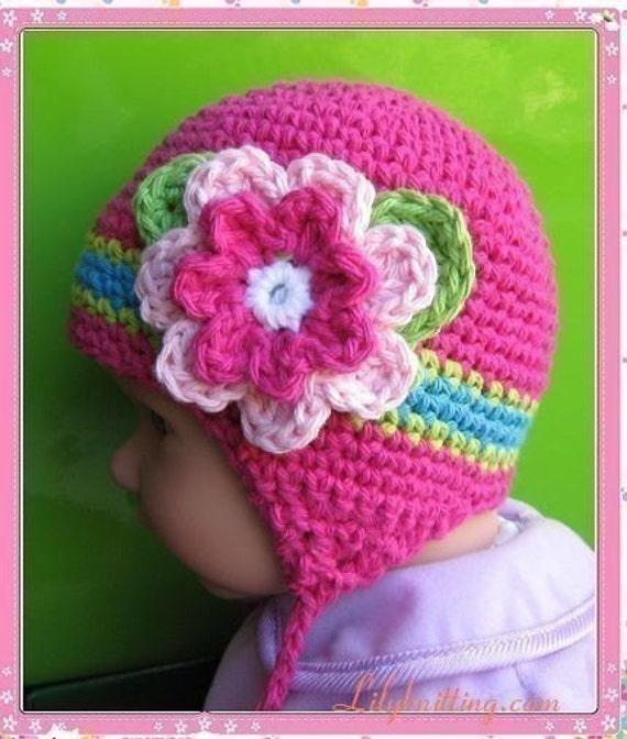 Pattern in PDF Crocheted baby earflap beanie hat 0 3