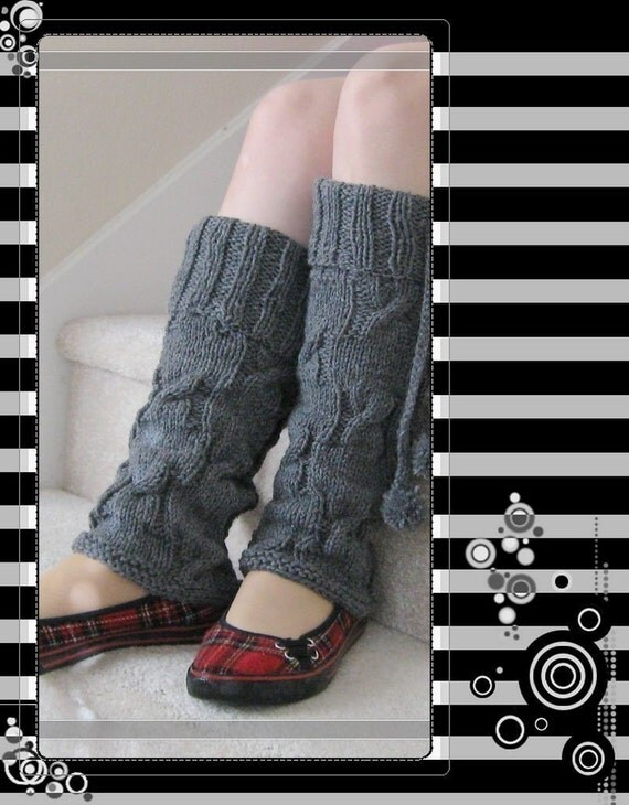 Pattern in PDF Knitted Long wool cable Leg Warmers -- Medium\/Small size