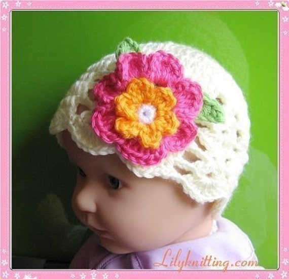 PATTERN in PDF Crocheted newborn baby scallop beanie with a large pretty rose flower -- 0 -  3 months and 3 - 6 months