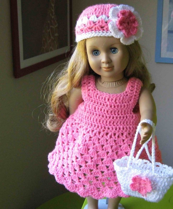 Crocheting Doll Clothes : Doll dress ParTTERN Crocheted doll dress for American Girl, Gotz or ...