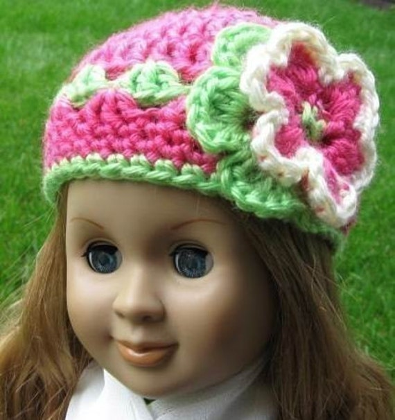 Crochet Hat Pattern American Girl Doll : PATTERN in PDF crocheted doll hat/beanie for American girl