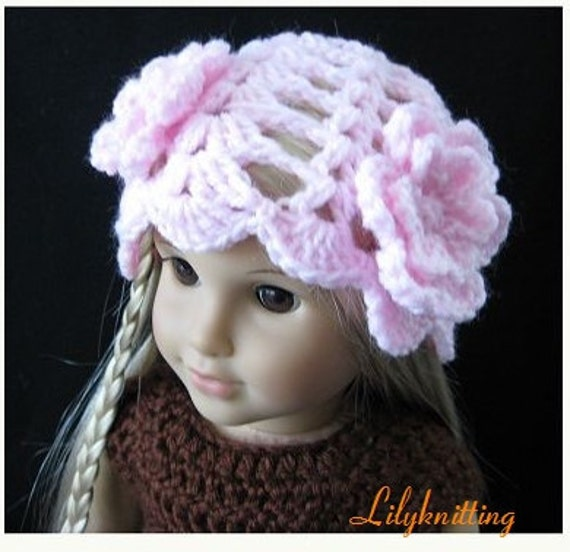 PATTERN in PDF -- crocheted doll hat/beanie for American girl, Gotz or similar 18 inches dolls (Doll Hat 21)