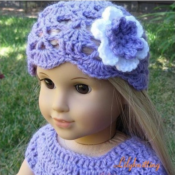 Pattern in PDF crocheted doll hat for American Girl Gotz or