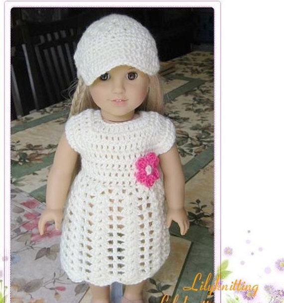 Crocheting Doll Clothes : Pattern crocheted doll clothes dress for American Girl, Gotz or ...