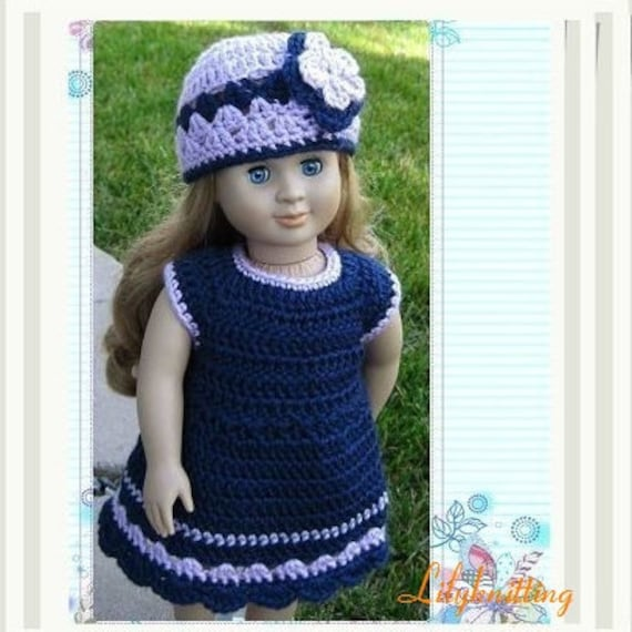 doll dress Pattern crocheted doll clothes dress for American Girl ...