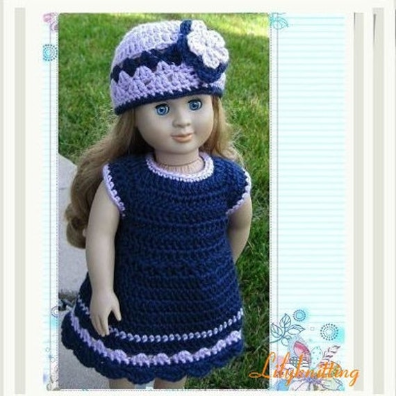 Crochet Patterns Doll Clothes : doll dress Pattern crocheted doll clothes dress for American Girl ...