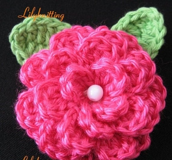 Free Crochet Pattern Large Flower : PATTERN in PDF crocheted large flower rose brooch by ...