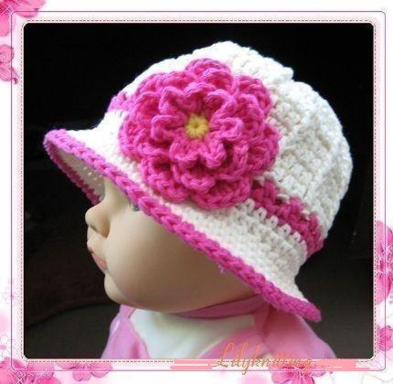 PATTERN in PDF -- crocheted baby cloche beanie hat with a large rose flower (Cloche 1)-- 6 - 9 months and 9 - 12 months