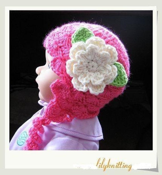Pattern in PDF Crocheted baby earflap beanie hat Earflap