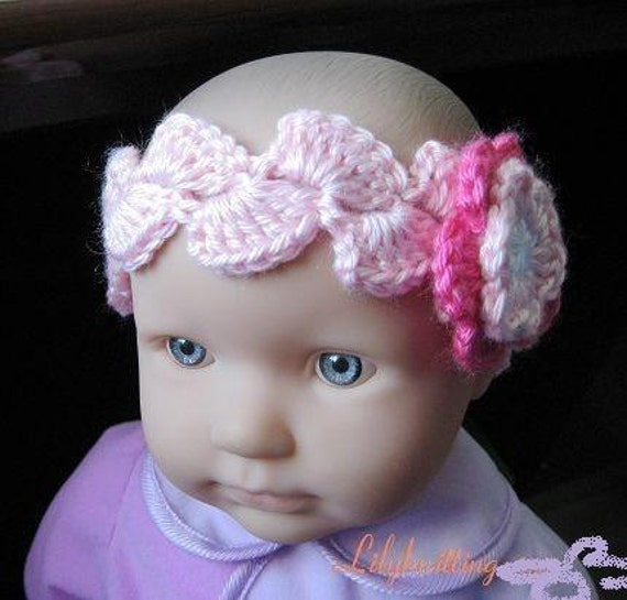 Crochet Headband Pattern For Baby With Flower : PATTERN in PDF Crocheted baby flower headband Headband 5