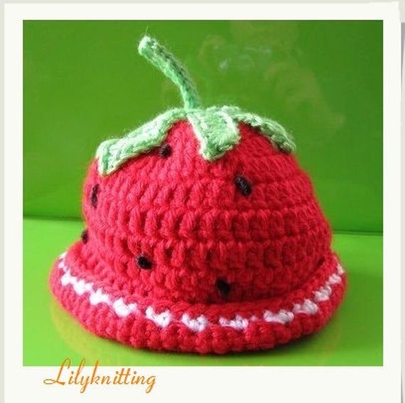 PATTERN in PDF Crocheted baby strawberry hat by LilyKnitting