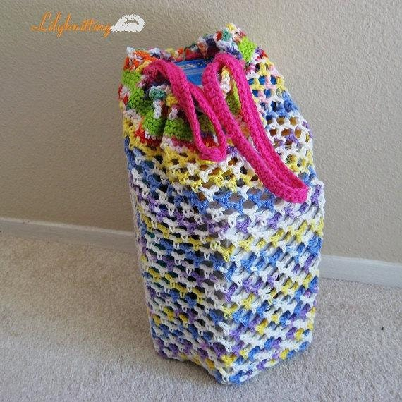 PATTERN in PDF -- Super easy Crocheted Shopping Market Bag, Mesh Bag, Grocery Bag, Beach Bag