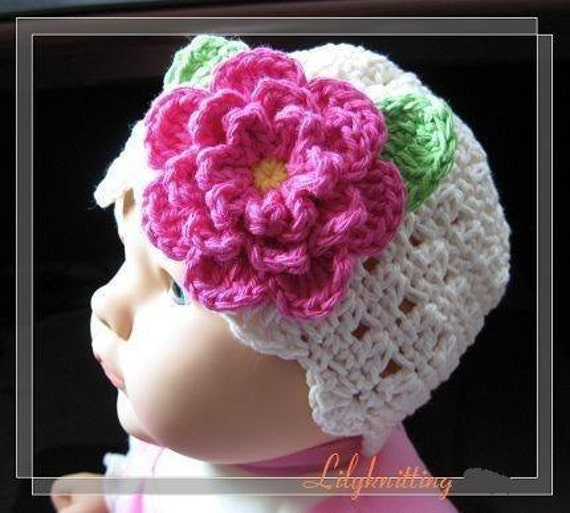 PATTERN in PDF crocheted baby Flower flapper beanie (Flapper Beanie 4) -- 12 - 24 months and 2T - 4T