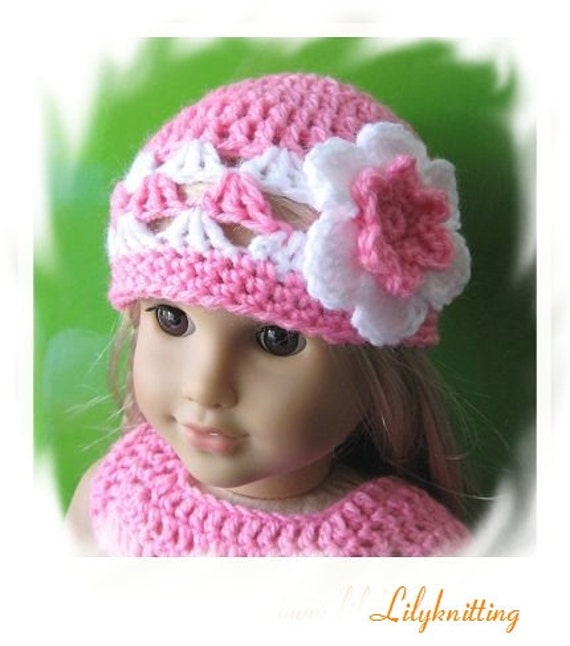 PATTERN in PDF -- Crocheted doll hat for American Girl, Gotz or similar 18 inches dolls -- Doll Hat 12