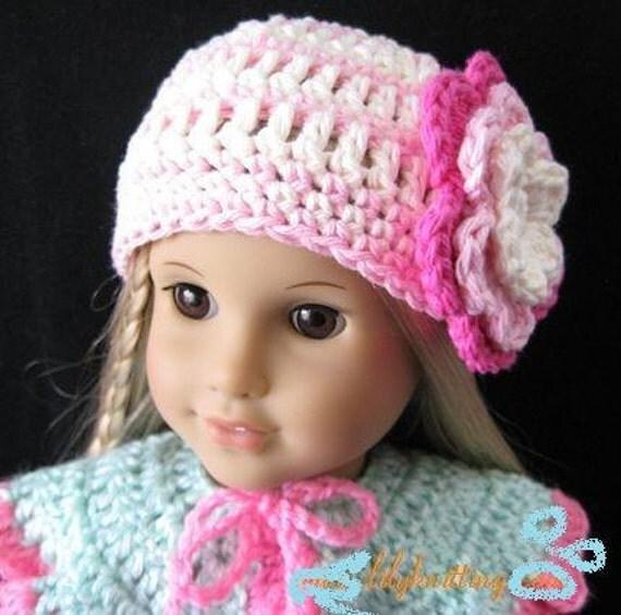 Air Freshener Crochet Dolls Pattern : PATTERN in PDF Crocheted doll hat for American Girl Gotz
