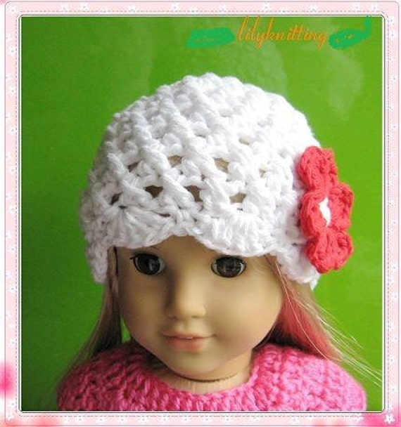 Crochet Hat Pattern American Girl Doll : PATTERN in PDF Crocheted doll beanie hat for American Girl