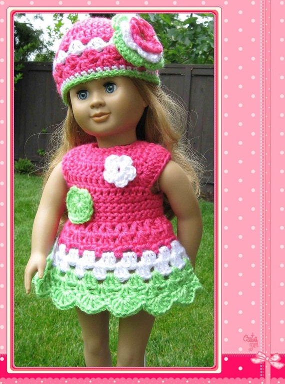 Pattern Crocheted Doll Clothes Dress For American Girl Gotz