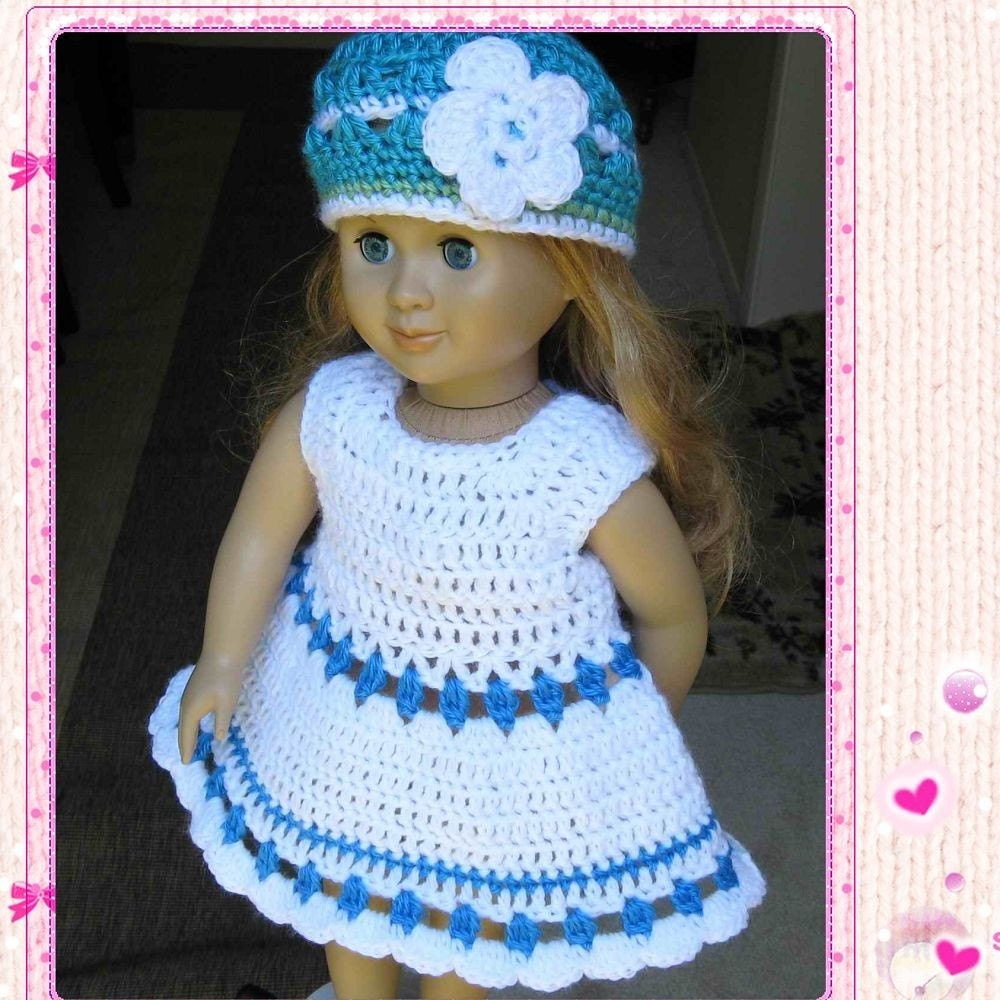 Crochet Pattern Mickey Mouse Doll : PATTERN Crocheted doll dress for American Girl Gotz or