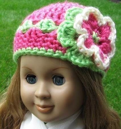 PATTERN in PDF crocheted doll hat/beanie for American girl