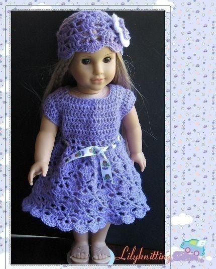 Easy Crochet Doll Clothes Patterns Free : PATTERN in PDF crocheted doll dress for American girl Gotz