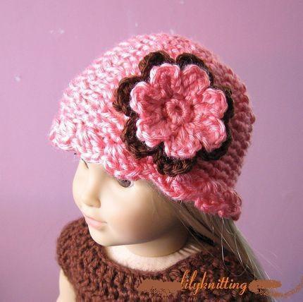 Air Freshener Crochet Dolls Pattern : PATTERN in PDF crocheted doll hat/beanie for American girl