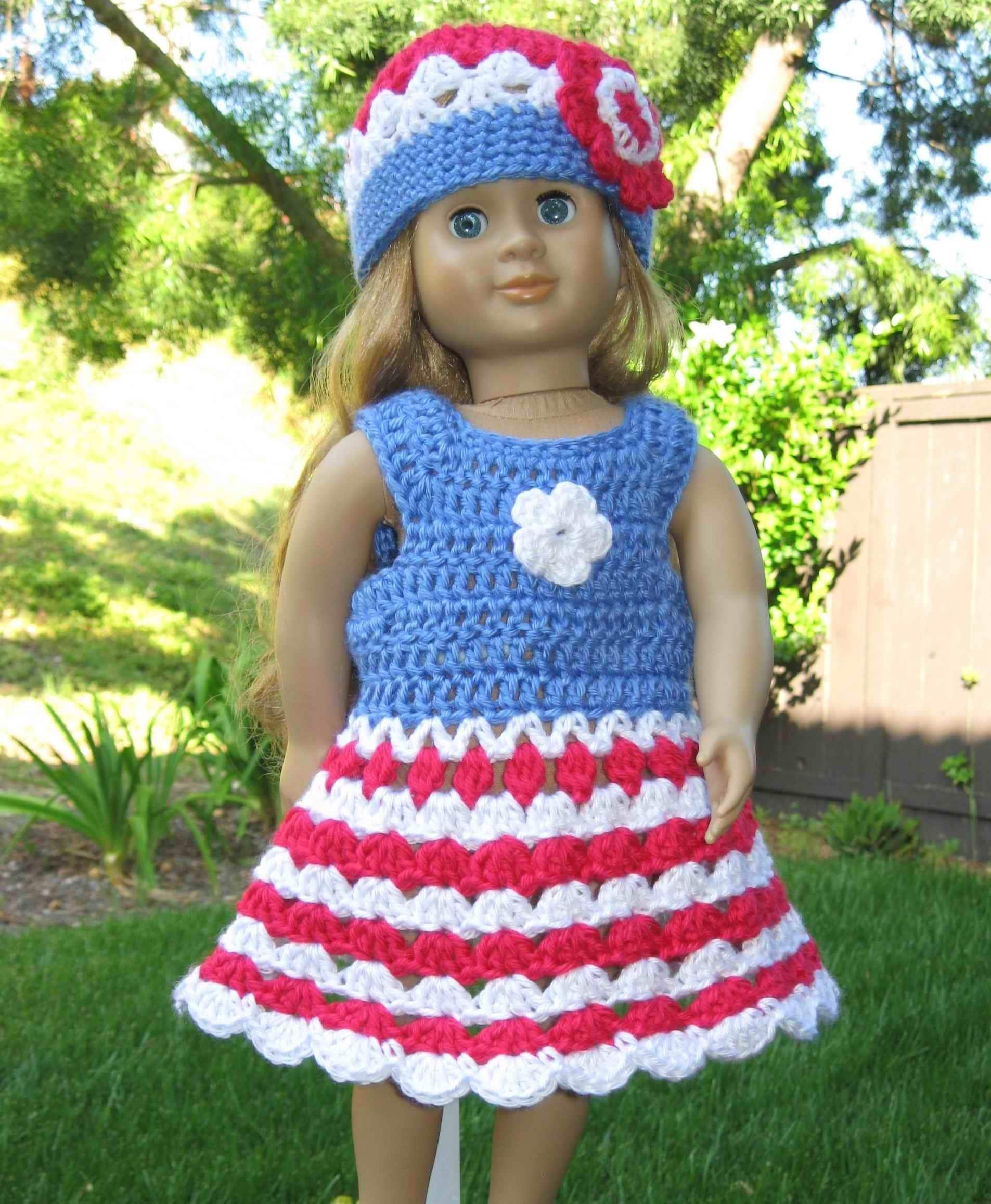 Pattern in PDF crocheted doll dress for American Girl Gotz