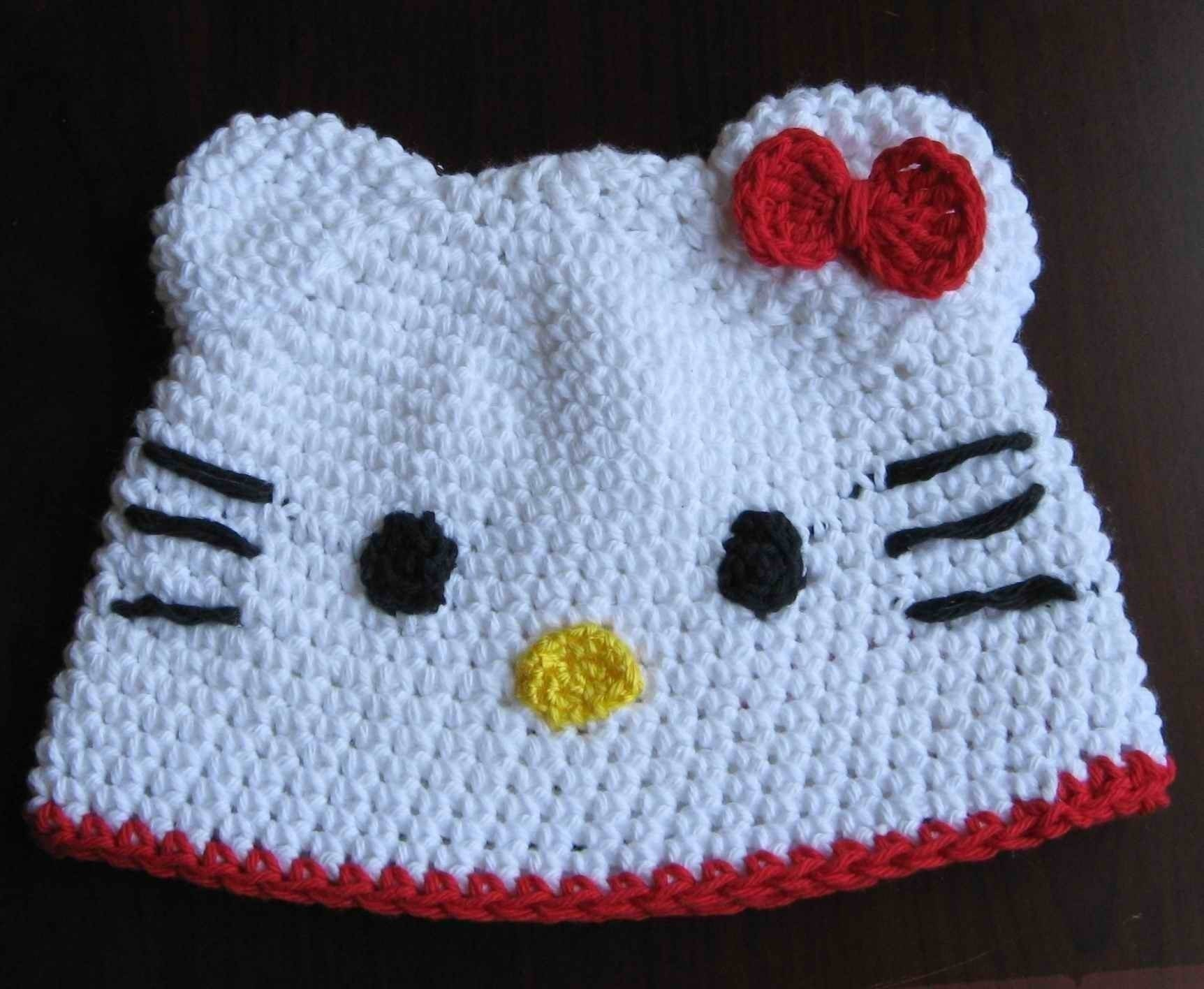 Free Crochet Pattern For A Hello Kitty Hat : PATTERN crocheted Hello Kitty beanie hat in size of 12 24