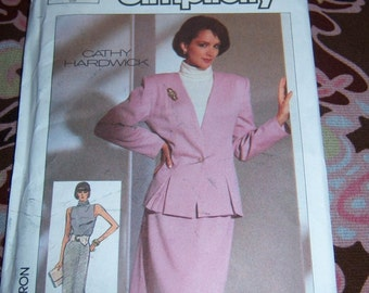 Vintage Simplicity Misses Skirt Semi-Fitted Lined Jacket and Knit Top Pattern Size 10 European Size 38 n 7758 Uncut 1986 A
