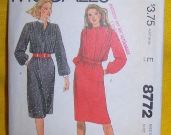 Vintage 1983 Pullover Dress Pattern n 8772 Size 12 Bust 34 Uncut