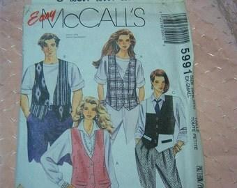 Vintage McCalls Misses, Mens or Teens Vest Pattern N 5991 Uncut Size Ex-Small Dated 1992