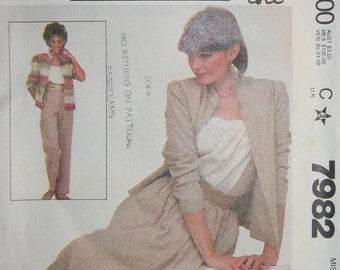 Vintage McCalls Misses Jacket, Skirt and Pants Pattern N7982 Dated 1982 Uncut Size 12