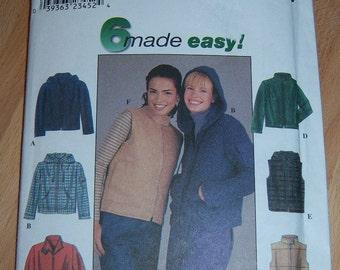 Simplicity Misses Jacket or Vest Pattern n 8936 Sized 6 thru 12 Uncut