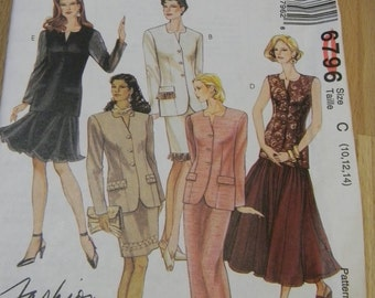 McCalls Misses Unlined Jacket, and Skirts Pattern N 6796 Dated 1993 Uncut Sizes 10 thru 14
