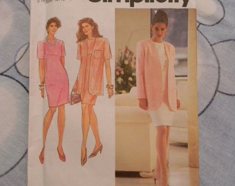 Simplicity Misses Dress and Unlined Jacket Pattern N 7661 Uncut, Size 6 thru 12