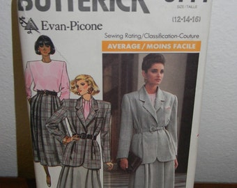 Vintage Butterick Even Picone Skirt , Blouse and Jacket Pattern N 5777 Sizes 12 thur 16