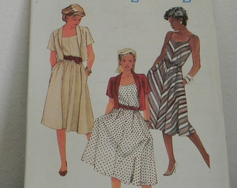 Vintage Simplicity Sundress and Jacket Pattern N5845, Uncut size 8, 1984