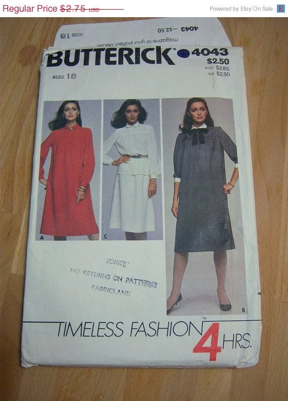 Butterick Timeless Fashions 4 hours Misses Dress, Skirt, Top and Tie Pattern N 4043 Uncut Size 18