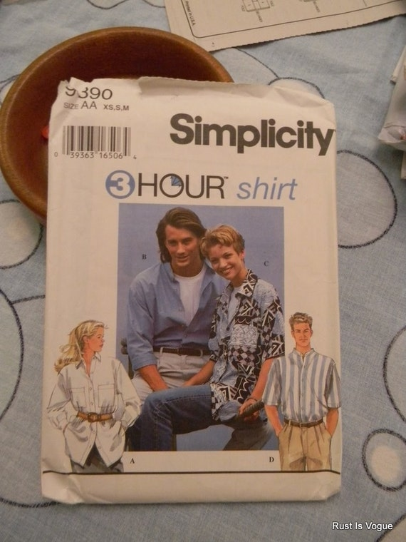 Simplicity 3 hour Shirt Unisex Pattern N 9390 Uncut, Sizes Xsm, S and M