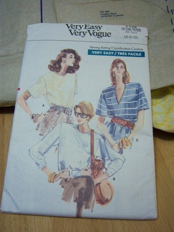 Very Easy Very Vogue Misses Top Pattern N 7128 Sizes 6 thru 10 Uncut