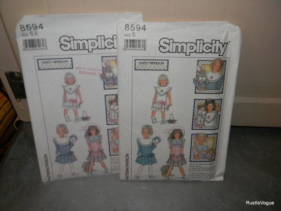 Vintage Simplicity Daisy Kingdom Girls Dress  Pattern 8594